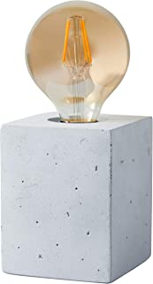 Rivet Modern Industrial Cement Cube Base Table Lamp with Amber Edison Light Bulb - 4.5 x 4.5 x 3.5 Inches, Cement
