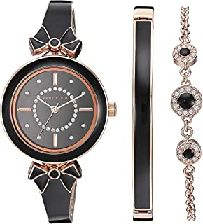 Anne Klein Women's AK/3338BKST Swarovski Crystal Accented Rose Gold-Tone and Black Bangle Watch with Bracelet Set