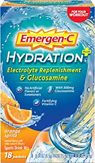 Emergen-C Hydration Plus Sports Drink Mix with Vitamin C Powder Packets, Orange Spritz, 6.12 Ounce
