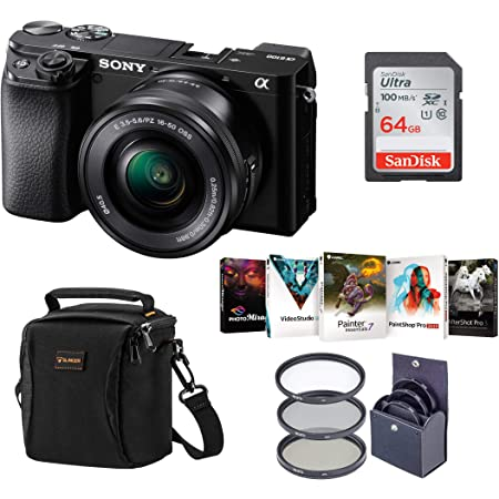 Sony Alpha A6100 Mirrorless Digital Camera, with 16-50mm Lens (Black) Bundle with Filter Kit, Bag, 64GB SD Card, Corel PC Software Pack