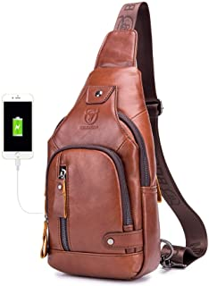 Leather Men Sling Bags Travel Crossbody Chest, Brown, Size One_Size