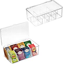2 Pack Stackable Plastic Tea Bag Organizer - Storage Bin Box for Kitchen Cabinets, Countertops, Pantry - Holds Beverage Ba...