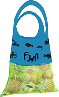 Mesh Shell Bag - Net Tote Perfect for Kid Pool Toy, Seashells, Beach Towel, Swimsuit - Keep Sand and Water Away - Go Well with Sand Dipper & Seashell Sifter Tool - Easy to Carry in Cute Fish Pocket