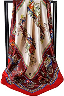 scarf Hot Fashion Silk Women Scarf Riding Hijab Design Printing Satin 2018 Female Bandana Wrap Lady Gift (Farbe : A3 Red)