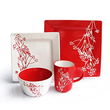American Atelier Blossom Branch 16 Piece Square Dinnerware Set, 10.75 DP x 7.75 SLD x 5.8 BWL, Red