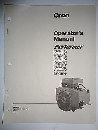 onan performer p216 p218 p220 p224 engine operators/owners manual 2/89