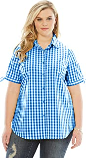 Women's Plus Size Gingham Shirt with Sleeve Ties