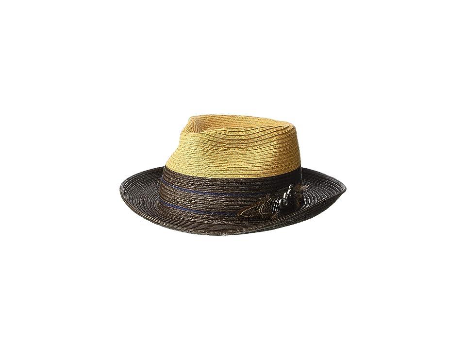 CARLOS by Carlos Santana Two-Tone Paper Braid Fedora (Brown) Fedora Hats