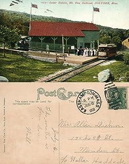 HOLYOKE MT.TOM RAILWAY STATION 1908 ANTIQUE POSTCARD RAILROAD DEPOT CORK CANCEL