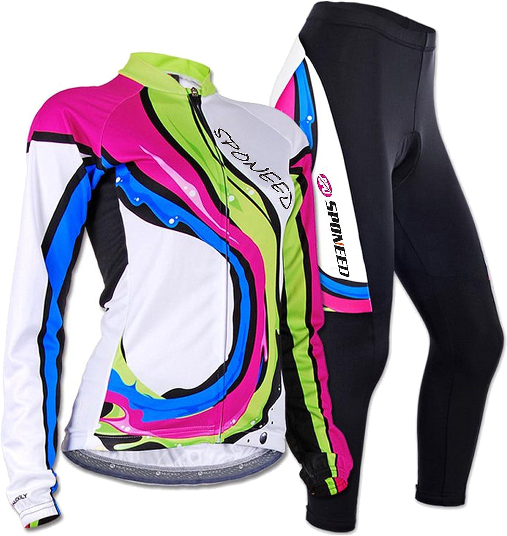 Sponeed Women's Cycle Jersey Bike Clothing Gel Padded Racing Long Sleeve Size XS US Multi