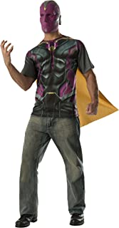 Adult's Mens Avengers Vision T-Shirt with Cape and Mask Costume Set