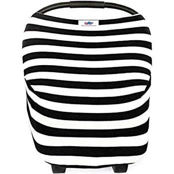 Baby Car Seat Cover- Breastfeeding Cover Nursing - High Chair - Shopping Cart - Baby Blanket Boys and Girls - Infinity Scarf - All-in-One Perfect Baby Shower Gift (Black&White Stripes)