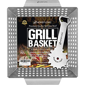 Homeflowz Vegetable Grill Basket and Scraper - Large Heavy Duty Stainless Steel Veggie Grilling Basket - Grills Veggies Fish Shrimp Kabob & Meat - Compatible with ALL outdoor BBQ Grills
