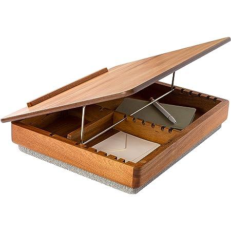 Hinged Wood Top Lap Desk with Cushioned Lap Pad Free Ship NIB