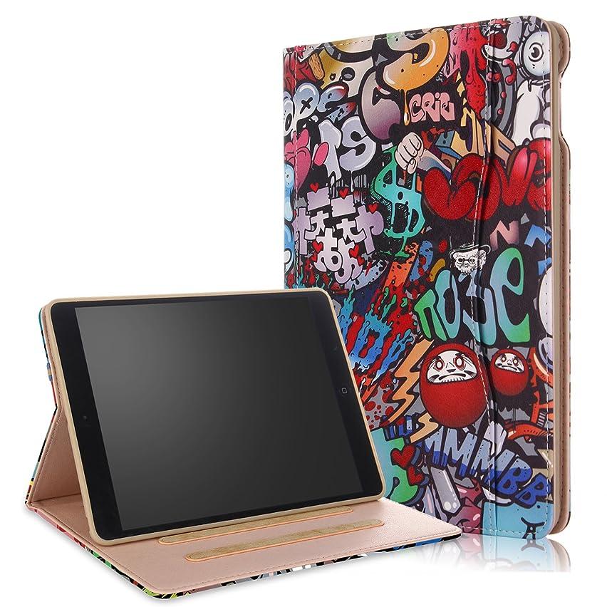 iPad 9.7 Inch 2018 2017/iPad Air 2/iPad Air PU Leather Case- Anvas [Large Pocket] Stand Shell Multi-View Cover,Auto Wake/Sleep for Apple iPad 6th/5th Gen, iPad Air 1 2,Graffiti