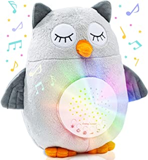 Plush Night Light Cry Detector - W/ 10 Lullabies & White Noise - Baby Soothing Sound Machine & Projector by Roccababy - Ce...
