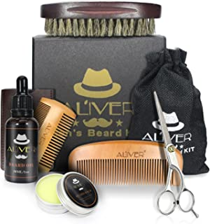 Men Beard Care Kit, 6 PCs Mustache Grooming Trimming Set-Beard Brush+Beard Comb+Organic Beard Oil(30ml)+Mustache Balm(30g) + Professional Mustache Scissors for Styling Shaping & Growth