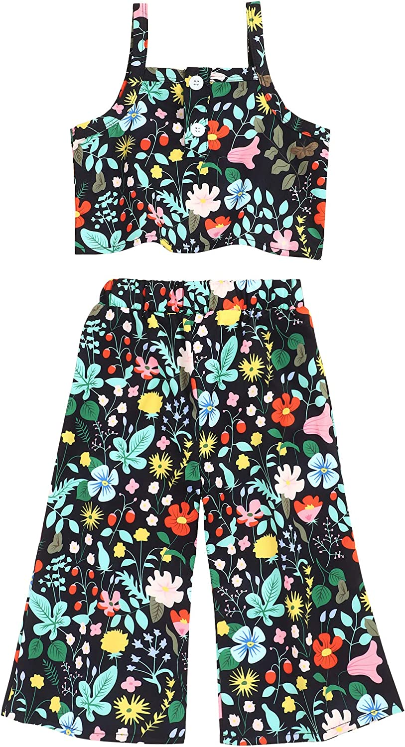 Toddler Kids Baby Girl Clothes Outfit Set Floral Vest Tops Pants Summer Clothes for Little Girl