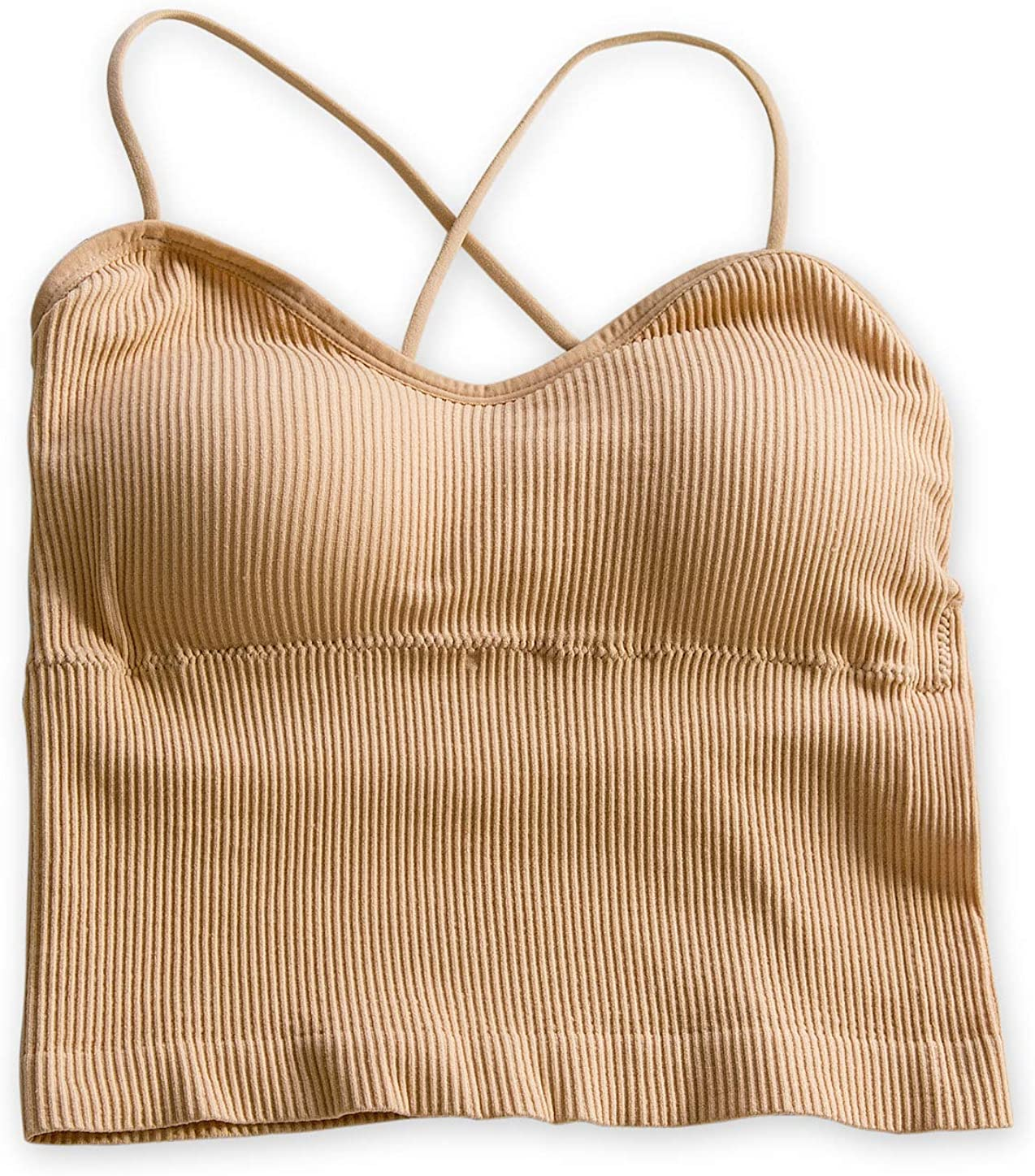 TOCONFFON Women's Slim-Fit Spaghetti Strap Camisole Padded Ribbed Crop Cami Tank Top
