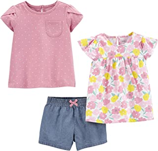 Girls' 3-Piece Short-Sleeve Dress, Top, and Pants...