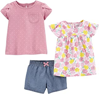 Simple Joys by Carter's Girls' 3-Piece Short-Sleeve Dress, Top, and Pants Playwear Set