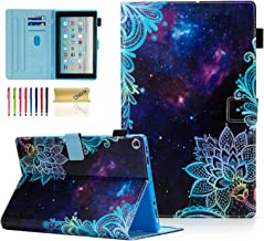 Dteck Case for All-New Fire HD 10 (7th Generation, 2017 Release) - Premium Leather Folio Stand Smart Cover with Auto Wake/Sleep, Card Holders for Kindle Fire HD 10.1 inch Tablet, Space Flower