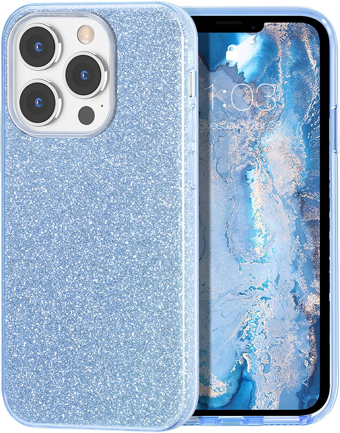 MILPROX Compatible with iPhone 13 Pro Case (2021), Glitter Sparkly Shiny Bling Rubber Gel Shell Cases 3 Layers Shockproof Protective Bumper Cover for iPhone 13 Pro 6.1