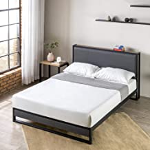 Zinus Queen Bed Frame with Fabric Headboard Shelf - Platform Black Steel and Charcoal Upholstery