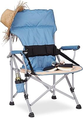 Relaxdays Chaise de camping pliable avec accoudoirs porte-boisson fauteuil pêche HxlxP: 102 x 66 x 61 cm, bleu, Polyester, 61 x 66 x 102 cm
