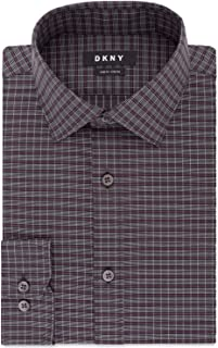 DKNY Men's Slim-Fit Performance Stretch Wrinkle-Resistant Check Dress Shirt (Black/Wine, 16.5X34-35)