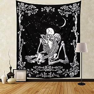 Govinva Skull Tapestry, The Kissing Lovers Black Tapestries, Tarot Tapestry Human Skeleton Wall Hanging Gothic Decor for Bedroom Dorm Living Room - 51.2 x 59.1 Inches