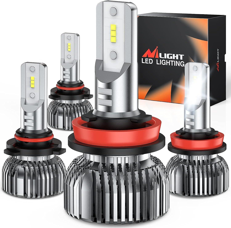 Nilight 9005 H11 LED Headlight Bulbs Kit, 350% Brightness, 100W 20,000 Lumens HB3 High Beam/ H11 Low Beam LED Bulbs Combo, 6000K Cool White, Mini Size, 4-Pack