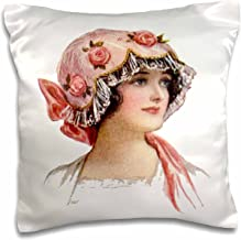 3dRose pc_6283_1 Victorian Lady with Rose Lace Bonnet-Pillow Case, 16 by 16