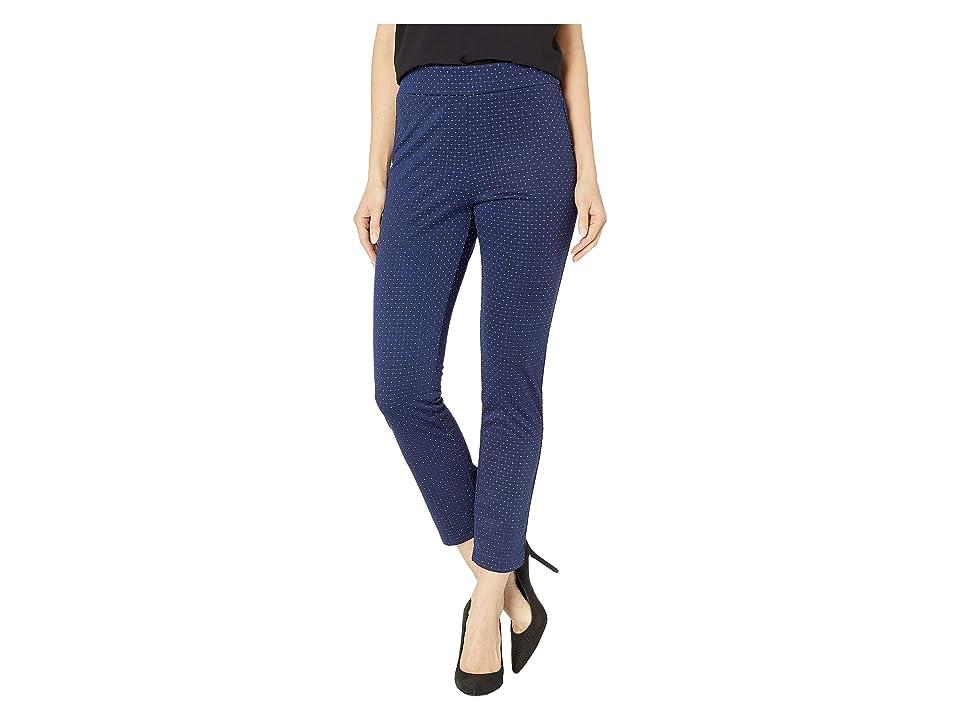 eci Polka Dot Knit Compression Pants (Navy) Women