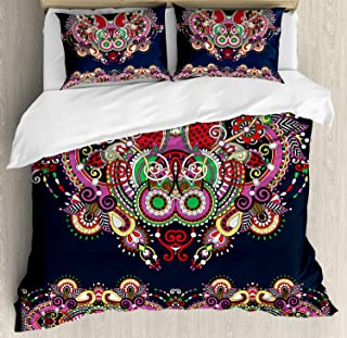 Ambesonne Ethnic Duvet Cover Set King Size, Ukrainian Embroidery Fashioned Ornate Paisley with Unique Features Motif, Decorative 3 Piece Bedding Set with 2 Pillow Shams, Violet and Dark Grey