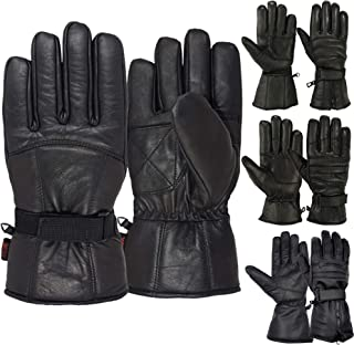 Men's Motorcycle Gloves Cold Weather Protective Motorbike Leather Glove Black