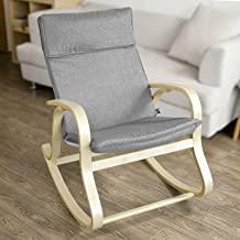 Haotian FST15-DG, Comfortable Relax Rocking Chair, Lounge Chair Relax Chair with Cotton Fabric Cushion