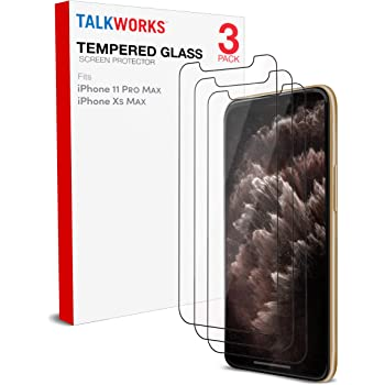 Screen Protector for iPhone 11 Pro Max, iPhone Xs Max - by TalkWorks | 3 Pack | Case Compatible 0.33mm 9H Hardness Tempered Glass | Smudge, Scratch & Crack Proof, Crystal Clear HD Clarity