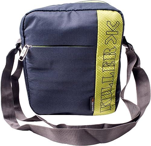KILLER Polyester Dark Grey & Green Messenger Bag For Unisex