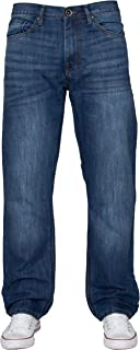 ENZO Mens Classic Straight Leg Regular Fit Indigo Wash & Mid Stone Wash Denim Jeans