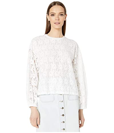 Kate Spade New York Athleisure Textured Lace Pullover (Fresh White) Women