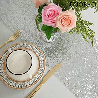 DUOBAO Sequin-Table-Runner-Silver Event Table Runner 12x120-Inch Sequins Cake Table Runner Sequien Table Runner Party Table Runner (1 Pack, Silver)