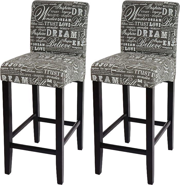 Sgabelli in coppia hwc-c33 lounge tessuto 54x39x105cm grigio con scritte piedi scuri mendler B019OEUQUQ