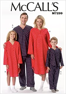 McCall's Patterns M7299 Misses'/Men's/Boys'/Girls' Top, Nightshirt & Pants, Kid (3/4-5/6-7/8-10/12)