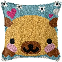 Lås krok handgjord tecknad björnmönster mattor kudde DIY hem textil matta kudde crochet cross stitch set barn vuxna hantve...