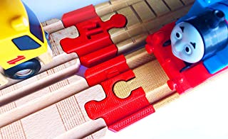 Thomas Wood 2018 Train Track Adapters to Wooden Railway for BRIO, Melissa & Doug (Red)