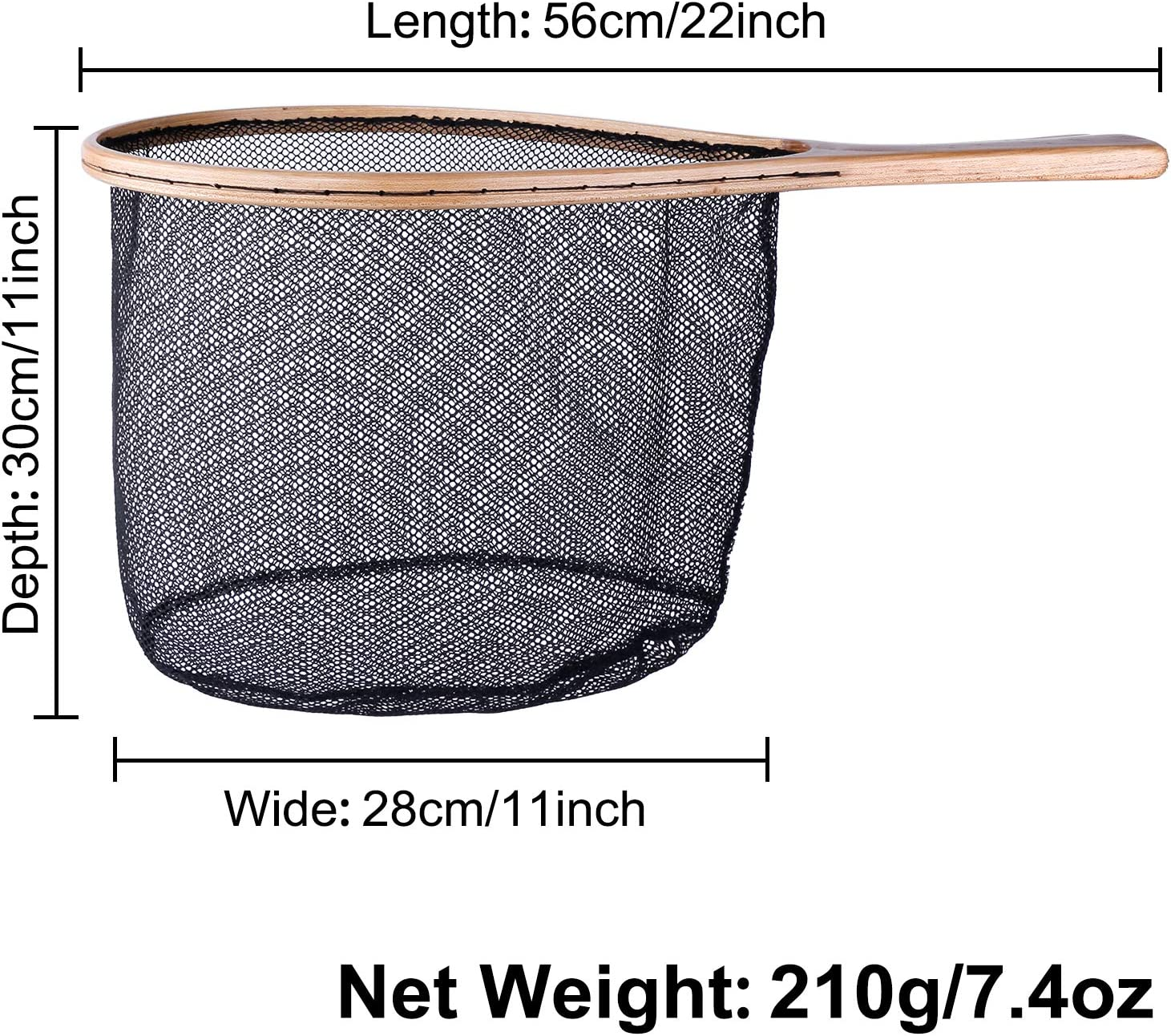 Magnetic Fly Fishing Gear Wooden Frame Fishing Landing Net with Magnetic Release PLUSINNO Fly Fishing Net Soft Rubber Mesh Net for Trout Bass Catch and Release