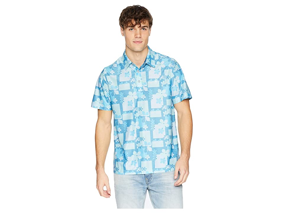 Toes on the Nose Aloha Woodblock Polo (Surf) Men