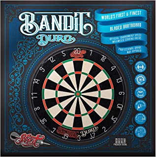 Shot! Darts Bandit Duro Steel Tip Dartboard-Hard Packed Sisal-Professional Bladed Bristle Board-Official Competition Size-Reduced Bounce Outs-Staple Free Bullseye