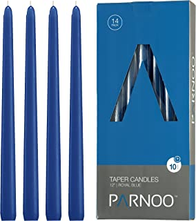 Light In The Dark Royal Blue Taper Candles - Set of 14 Dripless Candles - 12 inch Tall, 3/4 inch Thick - 10 Hour Clean Burning